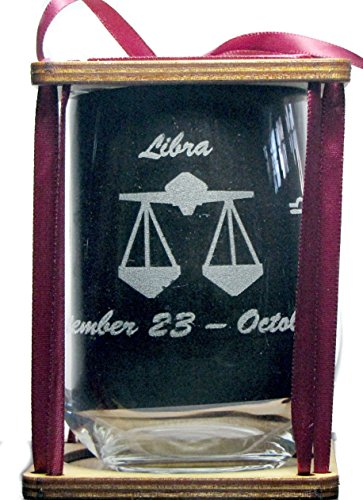 Libra Astrological Sign 360 Degree Engraved Stemless Wine Glass