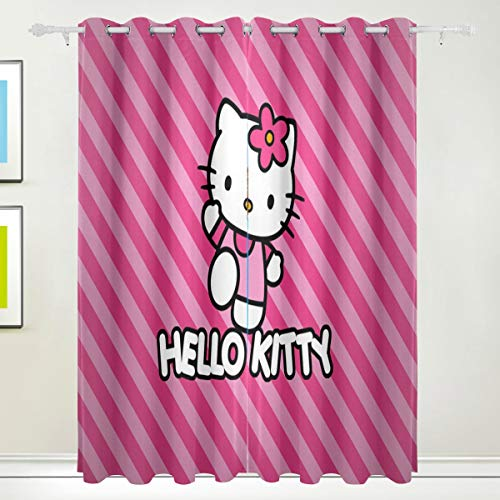 Cartoon Anime Cute Hello Kitty Pint Strip Line Blackout Curtain Top Insulation Compartment Bedroom Living Room Children's Room 55W x 84L Inches, 2 Panels