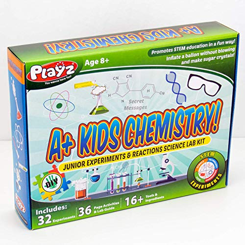 Playz STEM A+ Kids Chemistry Junior Experiments & Reactions Science Lab Kit - 32+ Experiments, 36 Page Laboratory Guide, and 27+ Tools & Ingredients for Boys, Girls, Teenagers, & ()