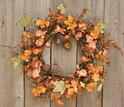 - Harvest Garden Twig Wreath Fall Flowers Mini Pumpkins Leaves Berries Country Primitive Floral Décor