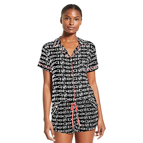Plus Size Bebe (bebe Womens Pajama Set Button Down Shirt and Shorts Sleepwear Pjs Sets Black)