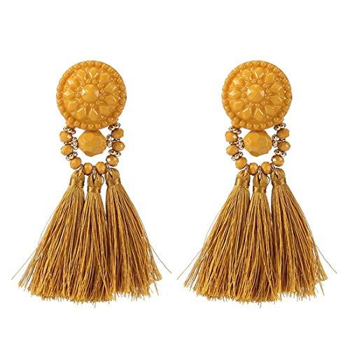 - Colorful Beads Thread Ethnic Charms Eardrop Long Tassel Dangle Drop Earrings (Mustard)