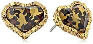 Betsey Johnson Crystal Leopard Heart Stud Earrings