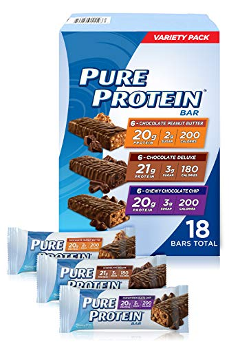 Pure Protein Bars, High Protein, Nutritious Snacks to Support Energy, Low Sugar, Gluten Free, Variety Pack, 1.76oz, 18…