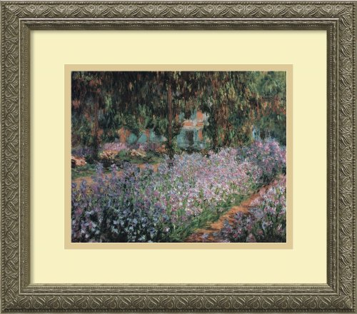 Framed Art Print, 'Jardin a Giverny (Garden at Giverny)' by Claude Monet: Outer Size 16 x 14