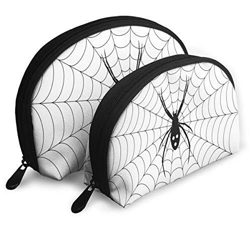 Shell Shape Makeup Bag Set Portable Purse Travel Cosmetic Pouch,Poisonous Bug Venom Thread Circular Cobweb Arachnid Cartoon Halloween Icon,Women Toiletry Clutch -