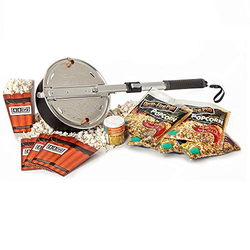 Wabash Valley Farms - Open Fire Pop Gift Set - 5 Popcorn Kits - 4 Seasoning Sampler - 4 Disposable Tubs