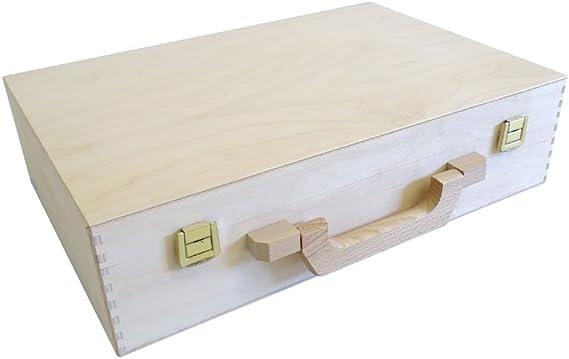 Estuche de madera con mango de madera para manualidades, maletín, maletín 420 x 320 x 100 mm: Amazon.es: Hogar