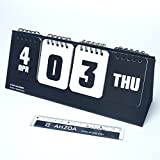 D Day Modern Calendar with AHZOA Mini Ruler, Countdown Standing Desk Calendar, Reversible Tent Type, Score Board Style (black)