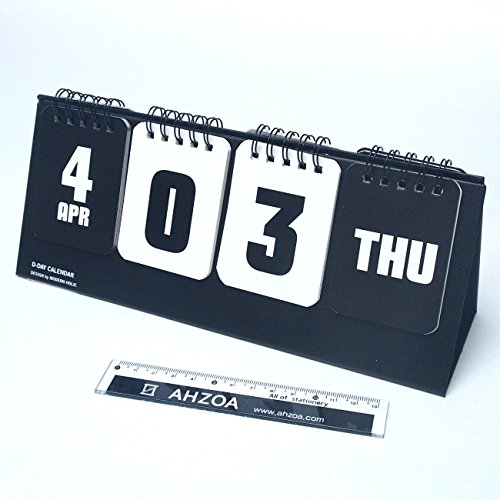 D Day Modern Calendar with AHZOA Mini Ruler, Countdown Standing Desk Calendar, Reversible Tent Type, Score Board Style (black) Calendar Type