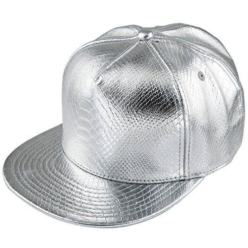Samtree Unisex Snapback Hats,Adjustable Hip Hop Flat Brim Baseball Cap (01-Silver)]()