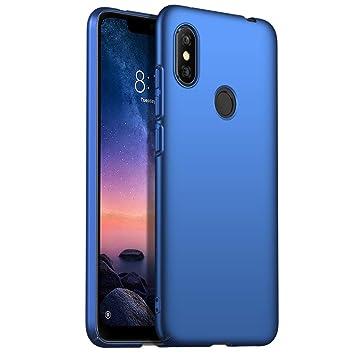 Funda Xiaomi Redmi Note 6 Pro, Apanphy [Ultra Slim] [PC Duro] [Piel Sedosa] [Protección Completa] Carcasa para Xiaomi Redmi Note 6 Pro Azul