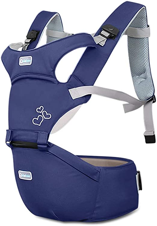 SONARIN Front Premium Hipseat Baby Carrier Portador de Beb/é,Multifuncional Ergon/ómico,100/% Algod/ón,Hebilla giratoria de mariposa,Adaptado al crecimiento de su hijo Azul