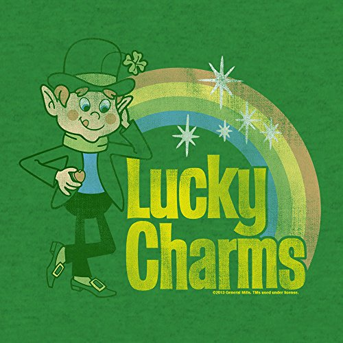 Lucky Charms Cereal Vintage Distressed Logo  Soft Touch Tee-large Kelly Green Heather