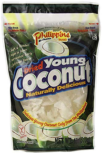 Philippine Brand Dried Young Coconut Snacks, 18 Ounce (2 Pack)