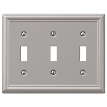 Triple Toggle Wall Switch Plate Cover Brushed Nickel Amazoncom