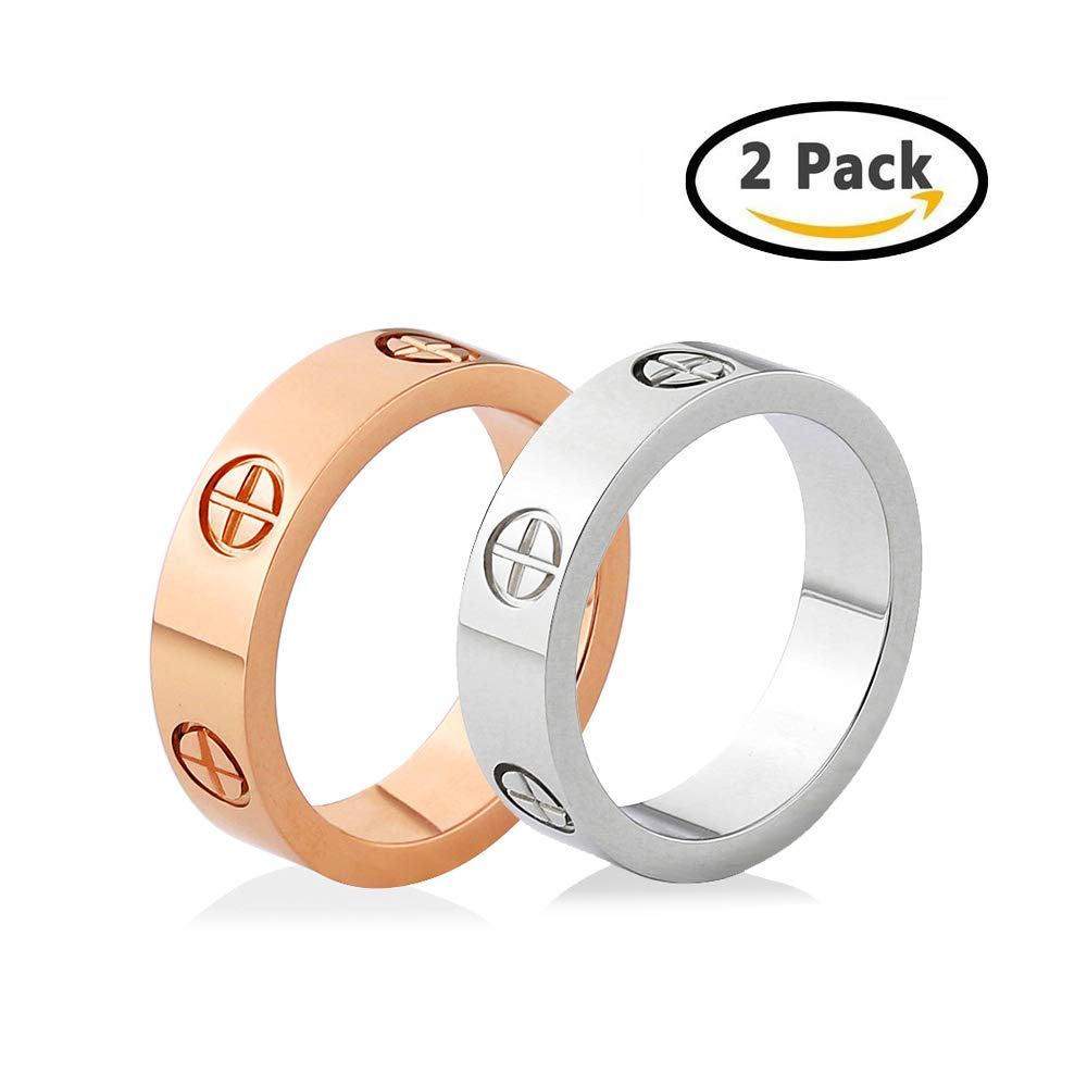NIREUS 2PCS Luxury The Love Ring Collection Brand Design For Women - Size 7
