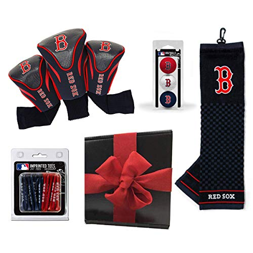 Team Golf Ultimate MLB Golf Gift Box Bundle | Includes Headcovers (3-Pack), Team Towel, Balls (3-Pack) & Pack of Logo Tees (50-Count) | PlayBetter Gift Box, Red Bow (Boston Red Sox)
