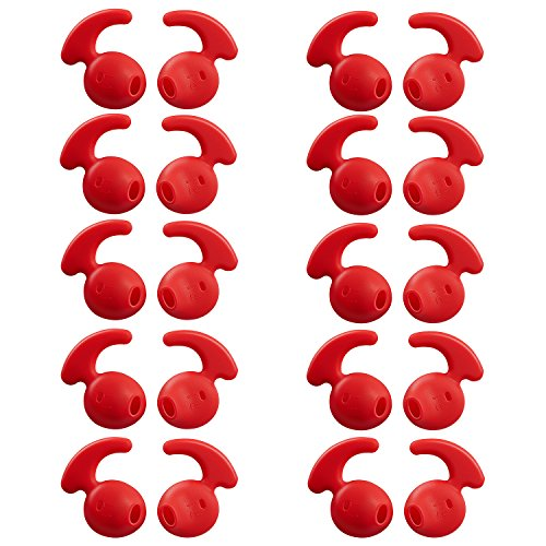20 Pieces Silicone Earbud Covers Teemade Replacement Ear Hooks Tips Silicone Ear Gels Buds for Samsung Galaxy S7/S7 Edge /S6/S6 Edge Sports Earbuds (Red)
