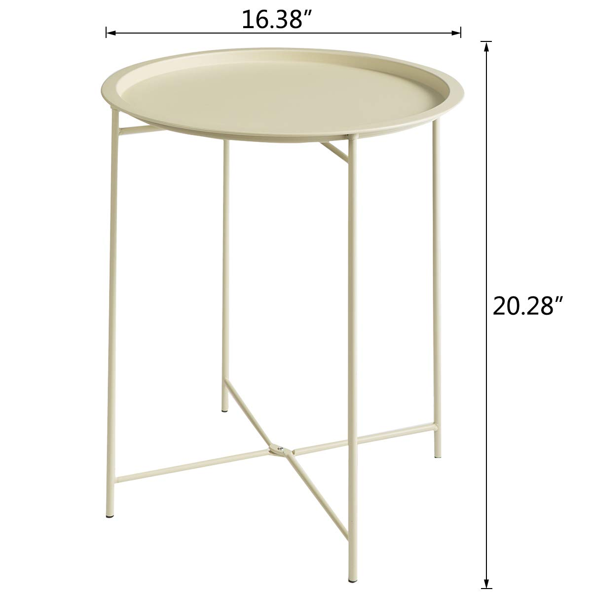 White round folding metal tray table.