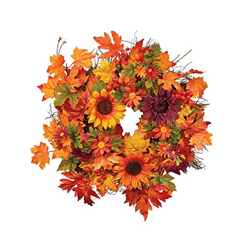 Collections Etc Fall Sunflowers Floral Wreath with Faux Berries and Leaves, 18 Inch Diameter