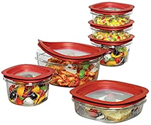Rubbermaid Premier food storage with Tritan plastic and Easy Fine Lids, Set of 12, Red, FG7J11TRCHILI