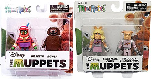 Disney Muppets MiniMates Exclusive Pigs in Space 2-Pack Miss Piggy First Mate / Dr. Julius Strangepork / Dr. Teeth & Rowlf the Dog figures