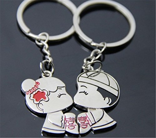 Hitop Romantic Couple Metal Key Ring Young Girls Love Lovers Sweethearts the Bride and Groom Couple Keychain Silver Key Ring ()
