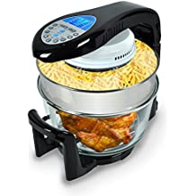 NutriChef Halogen Convection Oven Cooker - Large Capacity Turbo Countertop Toaster with 2 Tiered Rack and Tong Cooking Accessories - Cook, Bake, Broil, Grill, Roast, Air-Fry - PKCOV25