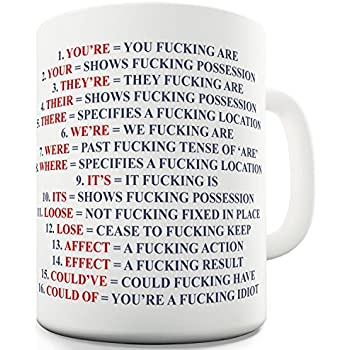 Funny Mug - Grammar Expletive and Rude - 11 OZ Coffee Mugs - Inspirational gifts for friends and sarcasm - By A Mug To Keep TM