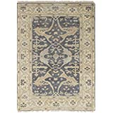 """Ecarpetgallery Hand-knotted Royal Ushak Open Field 4'1"""" x 5'11"""" Grey 100% Wool area rug"""
