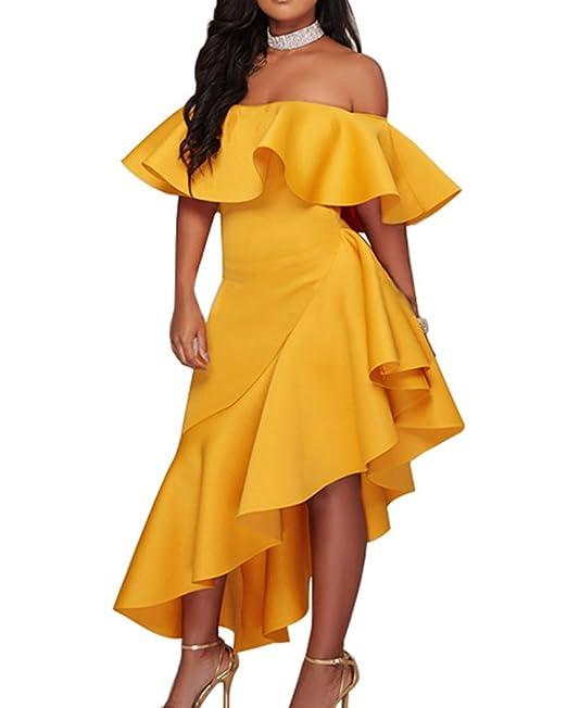 Vestido Noche Fiesta Para Mujer Elegante Fuera Del Hombro Vestidos Coctel Vestido De Fiesta Amarillo 2XL
