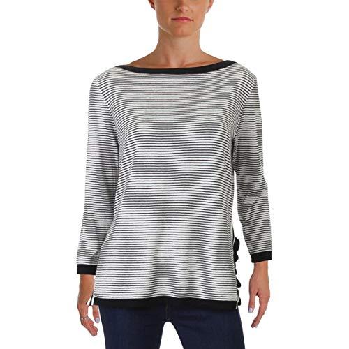 LAUREN RALPH LAUREN Womens Lightweight 3/4 Sleeve Pullover Sweater B/W -