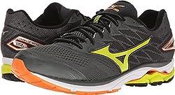 Mizuno Running Men's Wave Rider 20 Running Shoe, Dark Shadowlime Punchvibrant Orange, 10 D(m) Us