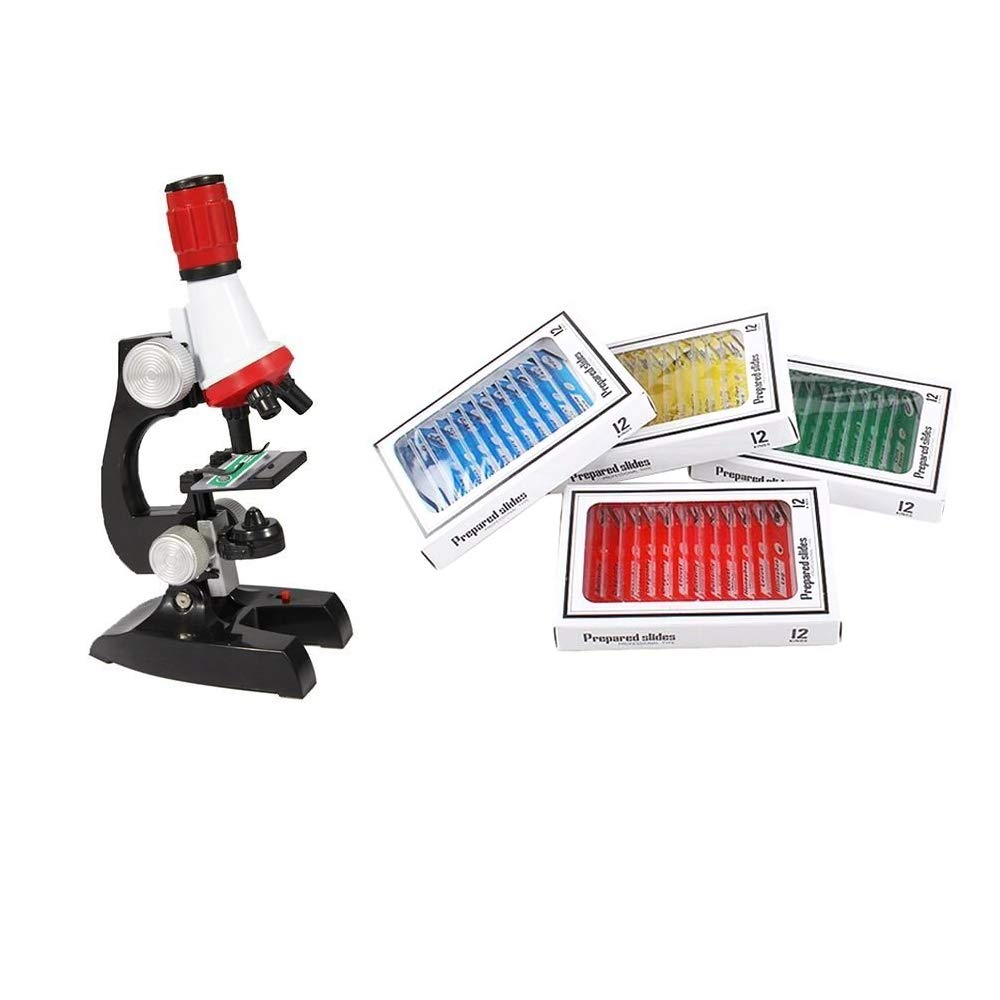 Allure Maek Plastic Prepared Microscope Slides 48pcs Biological Specimen Kits of Animals Insects Plants Flowers Sample Specimens for Kids Student Science Education