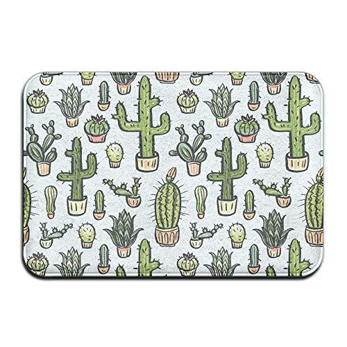 Dx Fashion Cactus Hand Drawn Pattern Coral Velvet Memory Foam Mats Non-Slip Kitchen Mats, Bath Mats,Welcome Door Mat, Doormat Indoor/Outdoor 19.7