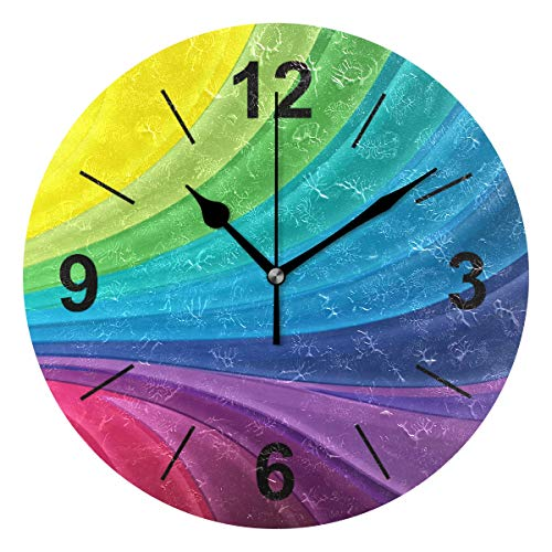 (Double Joy Wall Clock Round Rainbow Tunnel 10 Inch Diameter Silent Decorative for Home Office Kitchen)