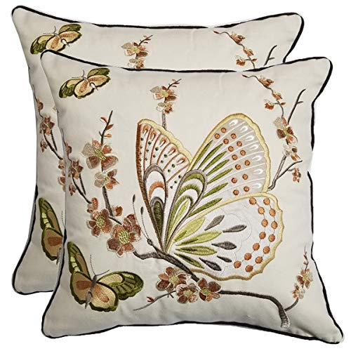 - Orange Elephant Pack of 2 Embroidered Decoration Pillow Covers Cotton Cushion Cover Throw Pillow Cases for Sofa 18 X 18 Inches (Brown Butterfly)