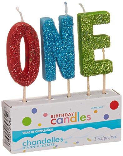 Glittered Pick Candle Set - One