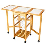 IdealBuy Portable Rolling Drop Leaf Kitchen Storage Trolley Cart Island Sapele Color