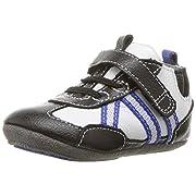Robeez Boys' Sneaker-Mini Shoez Crib Shoe, Jogging Josh-Black, 3-6 Months M US Infant