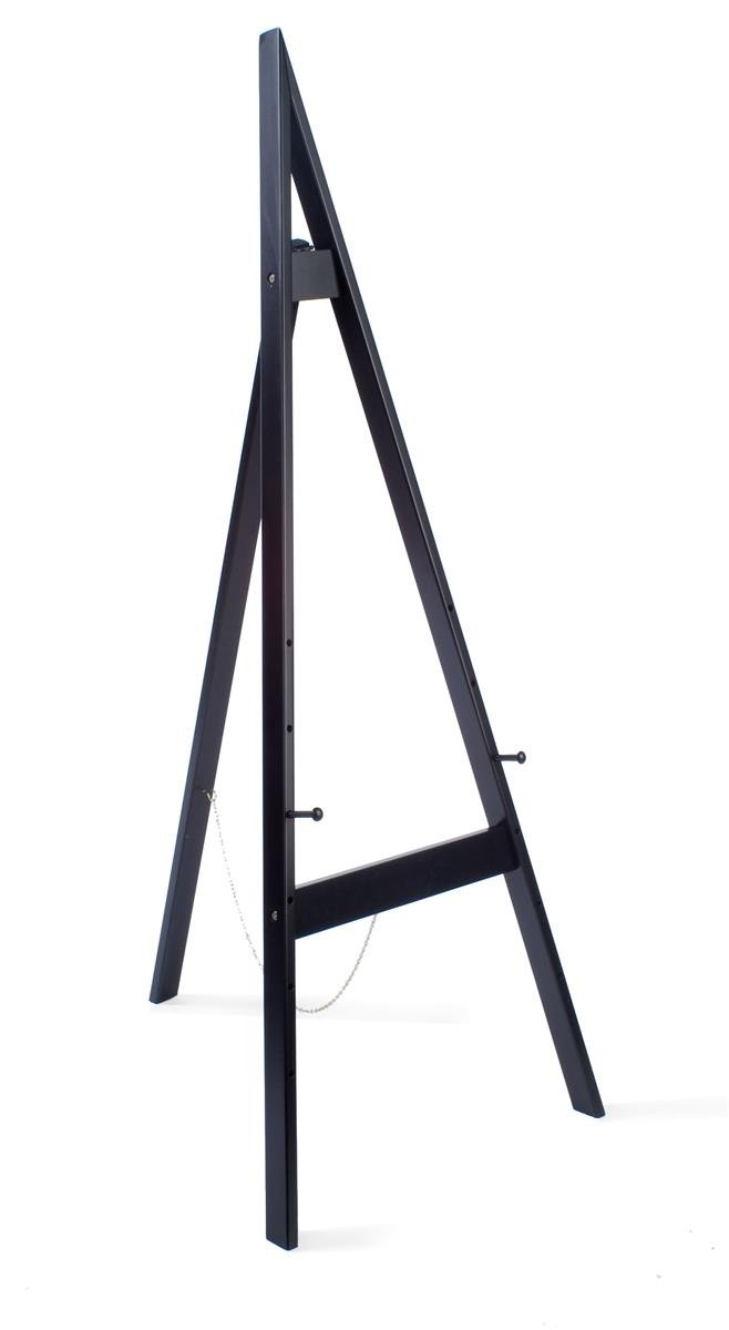 Wooden Display Easel with Height-Adjustable Pegs, 60 inches Tall - Black by Displays2go