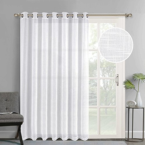 Iron Linen Shade - NICETOWN Linen-like Patio Door Curtains White Grommet Top Semi Voile Drape Sheer Panels for Sliding Glass Door, W100 x L84, 1 panel