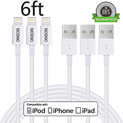 ONSON iPhone Cable,3Pack 10FT Extra Long 8 Pin Lightning to USB Data Cable Sync and Charging Cord Wire for iPhone 6/6S/6 Plus/6S Plus,5/5S/5C/SE,iPad Air/iPad Mini/iPad Air Pro,iPod touch and more