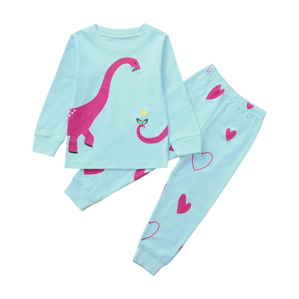Dinosaur Pajamas Sets for 1-5 Y Little Kids,Jchen(TM) Toddler Infant Baby Kids Boy Girl Long Sleeve Dinosaur Print Tops Pants Sleepwear Home Wear Outfits (Age: 3-4 Years Old)