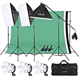 Andoer Photography Softbox Backdrop Lighting Kit, Photo Video Studio Stand Kit with 3 color 6.6 x 9.8ft Backdrop(Black/White/Green) for Studio Photography and Video Lighting+ Carrying Bag