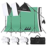Andoer Photography Softbox Light Lighting Kit, Photo Video Studio Stand Kit with 3 color 6.6 x 9.8ft Backdrop(Black/ White/ Green) for Studio Photography and Video Lighting+ Carrying Bag
