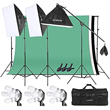 Andoer Photo Video Studio Light Kit Softbox Stand Kit with 3 color 6.6 x 9.8ft Backdrop(Black/ White/ Green) for Studio Photography and Video Lighting