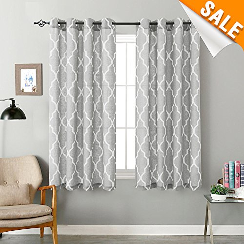 Grey on Flax Moroccan Tile Print Curtains for Bedroom 54 inch Long Quatrefoil Flax Linen Textured Geometry Lattice Window Treatment Set for Living Room 2 Panels (Moroccan Bedroom)