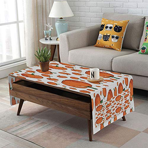 Linen Blend Tablecloth,Side pocket design,Rectangular Coffee Table Pad,Harvest,Halloween Inspired Pattern Vivid Cartoon Style Plump Pumpkins Vegetable Decorative,Orange Green White,for Home -